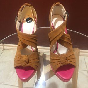 Suede Leather  Caramel Heels  with pink accent